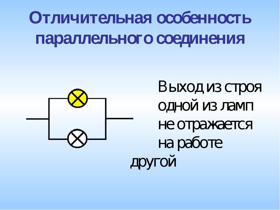 Отличительная особенность параллельного соединения Выход из строя одной из...
