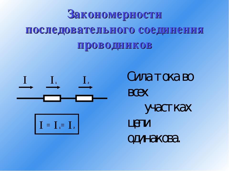 Закономерности последовательного соединения проводников Сила тока во всех уча...