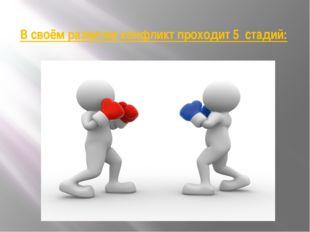 В своём развитии конфликт проходит 5 стадий: