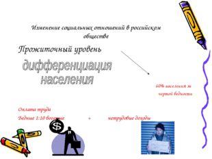 Изменение социальных отношений в российском обществе Прожиточный уровень 60%