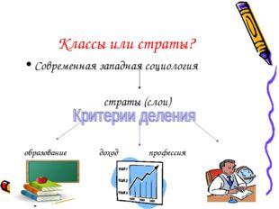 Классы или страты? Современная западная социология страты (слои) образование