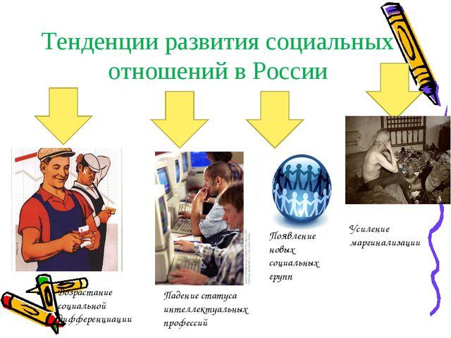 Тенденции развития социальных отношений в России Возрастание социальной диффе...
