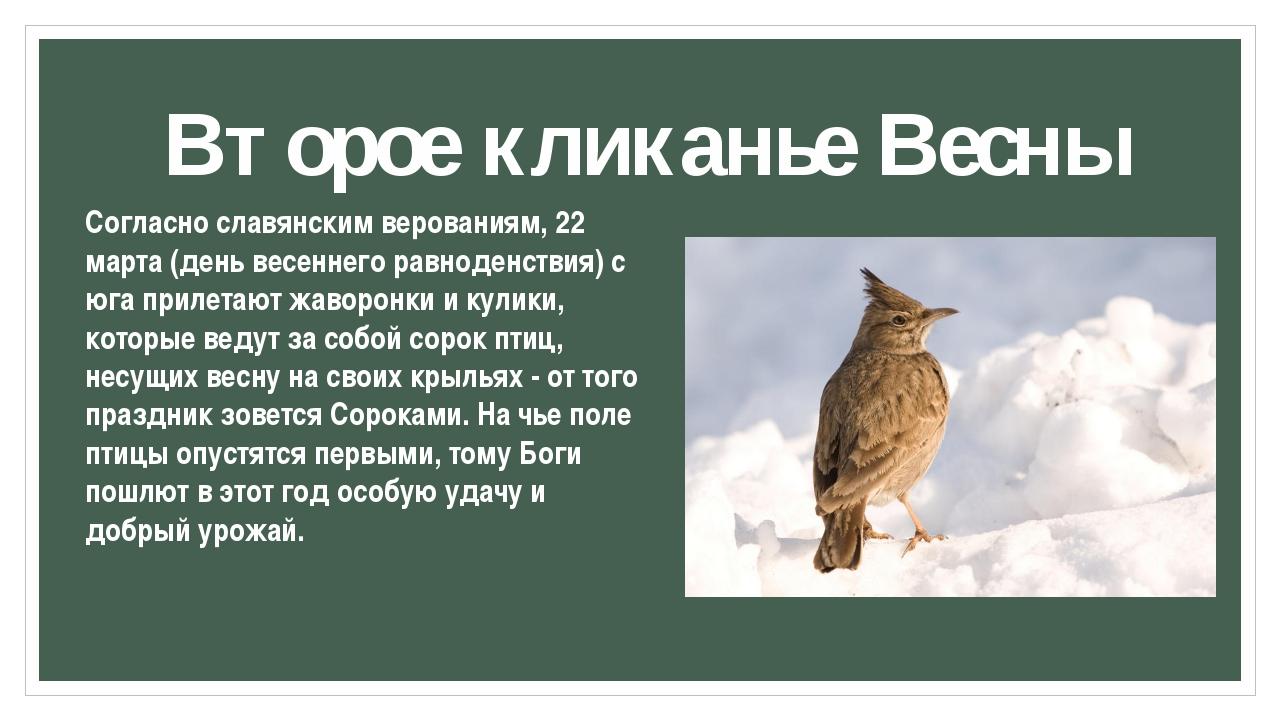 Второе кликанье Весны Согласно славянским верованиям, 22 марта (день весеннег...
