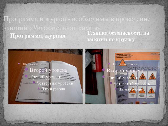 Программа, журнал Программа и журнал- необходимы в проведение занятий «Увлека...