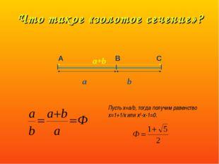 Что такое «золотое сечение»? А В С a+b a b Пусть х=a/b, тогда получим равенст