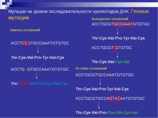 Мутации на уровне последовательности нуклеотидов ДНК. Генные мутации Замена о