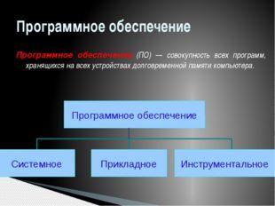 Программное обеспечение Программное обеспечение (ПО) — совокупность всех прог