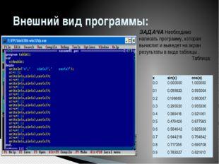 Внешний вид программы: ЗАДАЧА Необходимо написать программу, которая вычислит