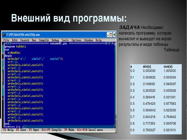 Внешний вид программы: ЗАДАЧА Необходимо написать программу, которая вычислит...