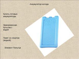 Аккумулятор холода Купить готовые аккумуляторы Замороженная бутылка с водой П