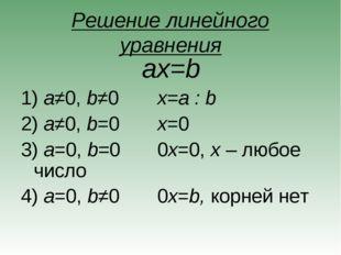 Решение линейного уравнения ax=b a≠0, b≠0x=a : b a≠0, b=0x=0 a=0, b=00x