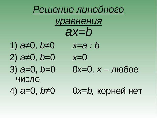 Решение линейного уравнения ax=b a≠0, b≠0x=a : b a≠0, b=0x=0 a=0, b=00x...
