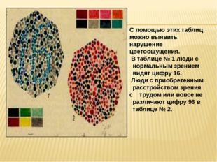С помощью этих таблиц можно выявить нарушение цветоощущения. В таблице № 1 л