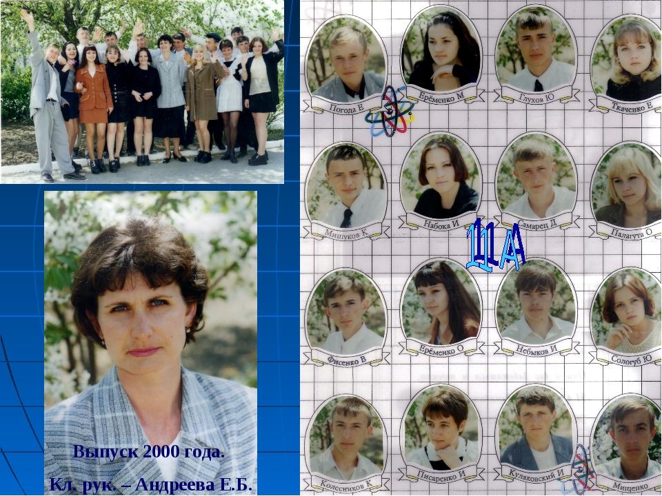 Выпуск 2000 года. Кл. рук. – Андреева Е.Б.