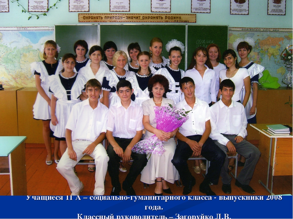 Учащиеся 11 А – социально-гуманитарного класса - выпускники 2008 года. Классн...