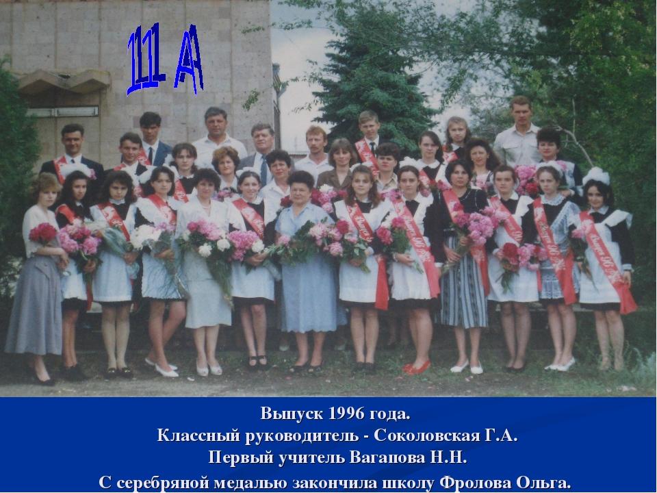 Выпуск 1996 года. Классный руководитель - Соколовская Г.А. Первый учитель Ваг...