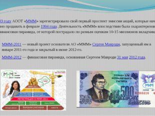 В 1993 году АООТ «МММ» зарегистрировало свой первый проспект эмиссии акций, к