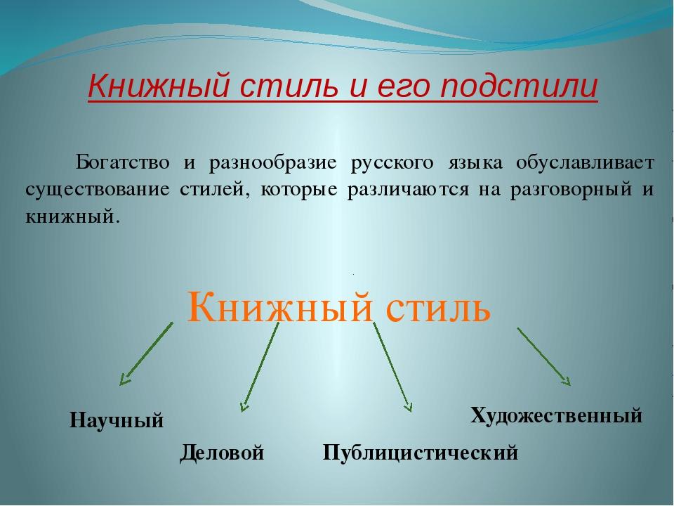 Книжный стиль и его подстили Богатство и разнообразие русского языка обуславл...