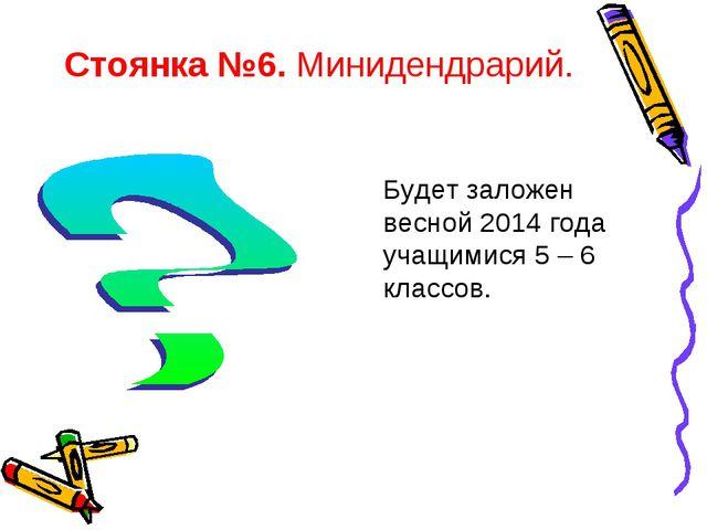 Стоянка №6. Минидендрарий. Будет заложен весной 2014 года учащимися 5 – 6 кла...