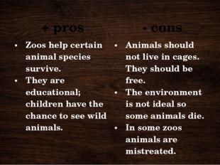+ pros - cons Zoos help certain animal species survive. They are educational;