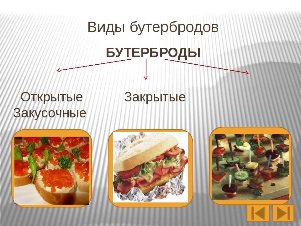 Виды бутербродов по способу подачи Горячие Холодные