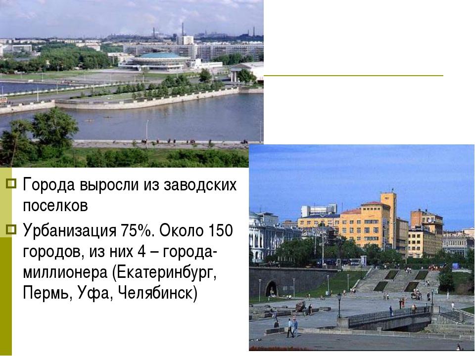 Города выросли из заводских поселков Урбанизация 75%. Около 150 городов, из н...