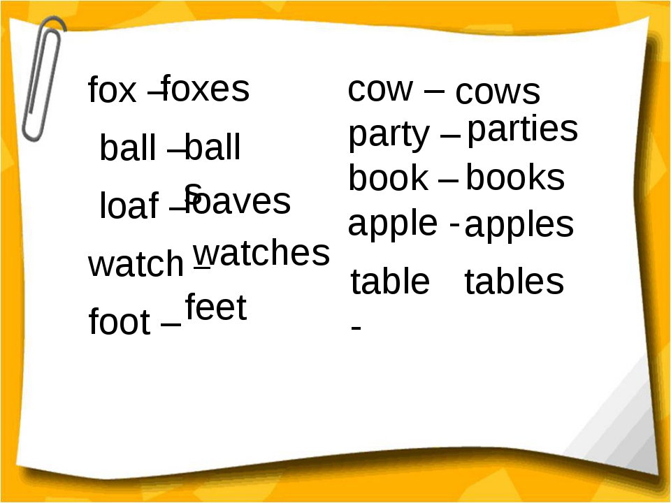 fox – ball – loaf – watch – foot – foxes balls cow – party – book – apple -...