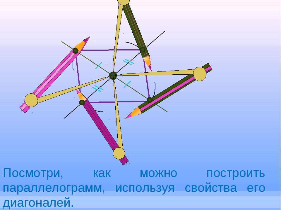 Посмотри, как можно построить параллелограмм, используя свойства его диагонал...
