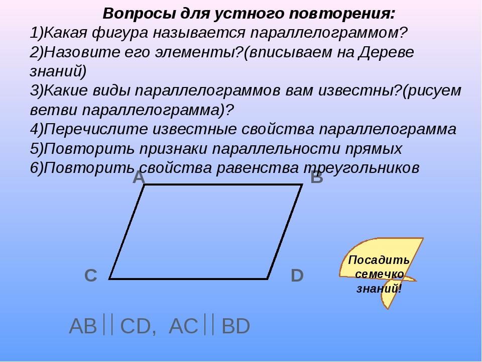 А B C D AB CD, AC BD Вопросы для устного повторения: 1)Какая фигура назыв...