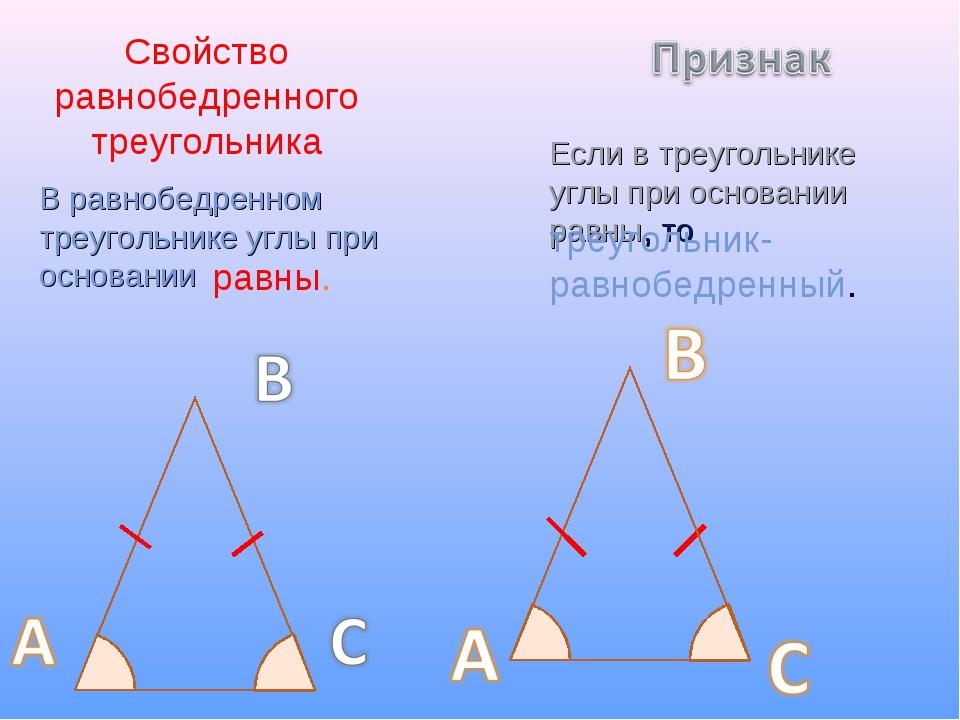 Свойство равнобедренного треугольника В равнобедренном треугольнике углы при...