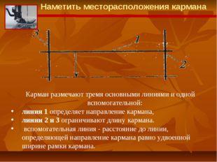 Карман размечают тремя основными линиями и одной вспомогательной: линия 1 опр