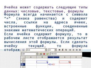 Ячейка может содержать следующие типы данных: числовые, текстовые, формулы Фо
