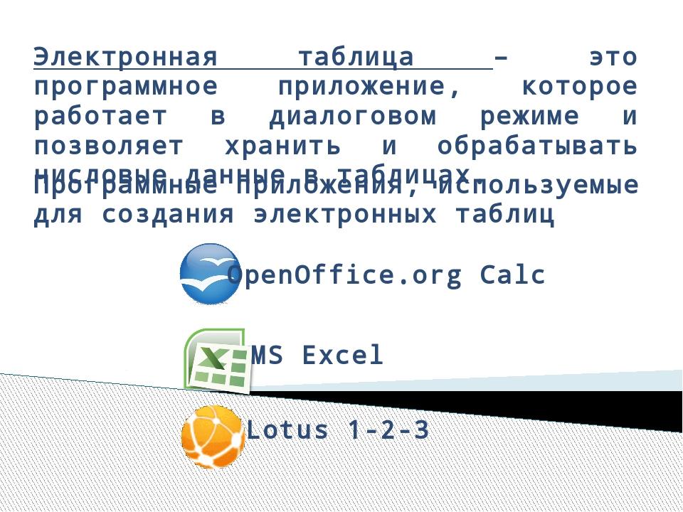 Электронная таблица – это программное приложение, которое работает в диалогов...