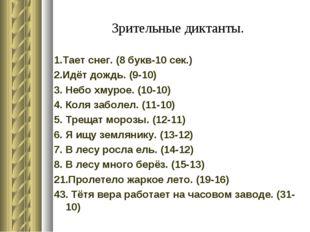 Зрительные диктанты. 1.Тает снег. (8 букв-10 сек.) 2.Идёт дождь. (9-10) 3. Не