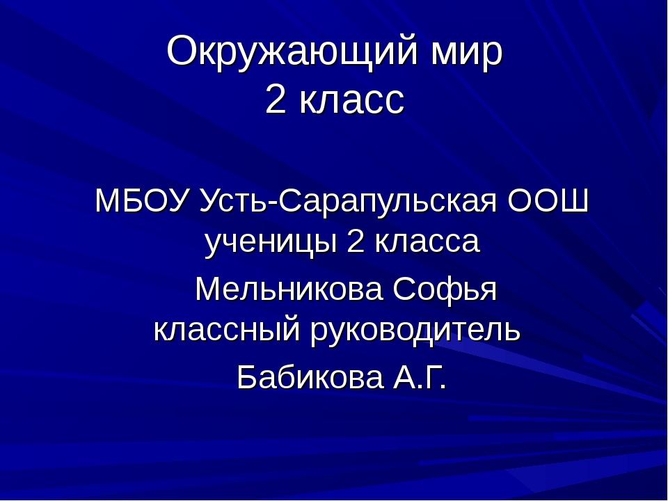 Окружающий мир 2 класс МБОУ Усть-Сарапульская ООШ ученицы 2 класса Мельникова...