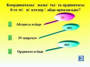 Координаталық жазықтықта ординатасы 0-ге тең нүктелер қайда орналасады? 1 2 3