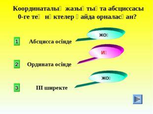 Координаталық жазықтықта абсциссасы 0-ге тең нүктелер қайда орналасқан? 1 2