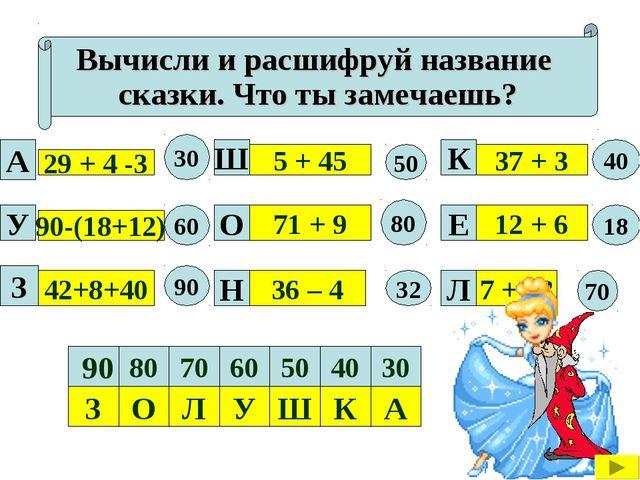 Вычисли и расшифруй название сказки. Что ты замечаешь? 29 + 4 -3 90-(18+12) 4...