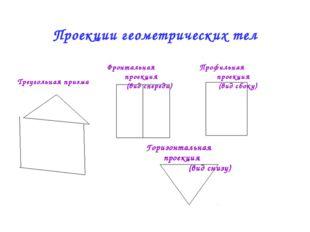 Проекции геометрических тел Фронтальная проекция (вид спереди) Профильная про