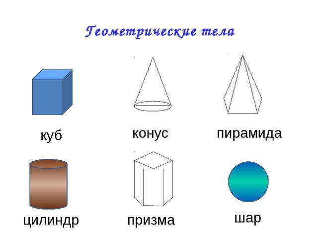 Геометрические тела куб конус пирамида цилиндр призма шар