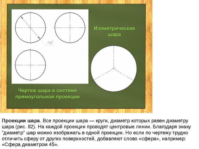 Проекции шара. Все проекции шара — круги, диаметр которых равен диаметру шара...