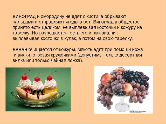 ВИНОГРАД и смородину не едят с кисти, а обрывают пальцами и отправляют ягоды...