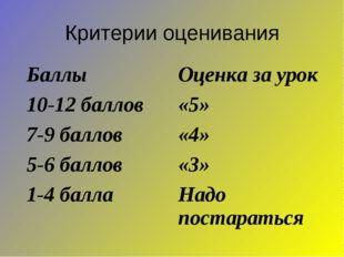 Критерии оценивания Баллы Оценка за урок 10-12 баллов«5» 7-9 баллов«4» 5-6