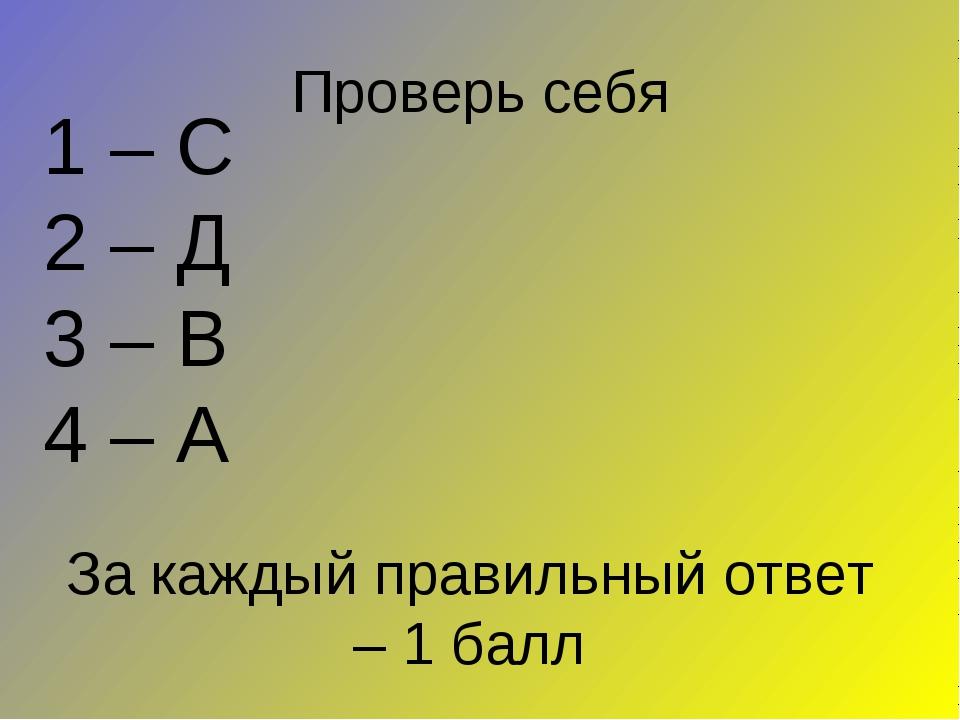 Проверь себя 1 – С 2 – Д 3 – В 4 – А За каждый правильный ответ – 1 балл
