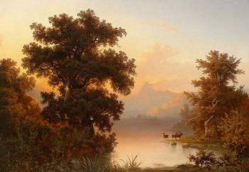 Горное озеро в вечернем свете :: Краузе Франц Эмиль