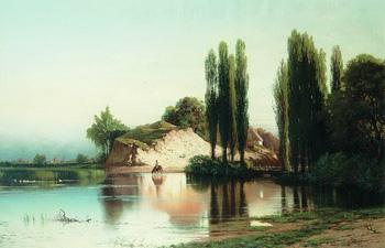 Пейзаж с рекой в Малороссии :: Орловский Владимир Донатович, 1883 г.