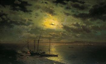 Лунная ночь на реке :: Каменев Лев Львович, 1870 г.