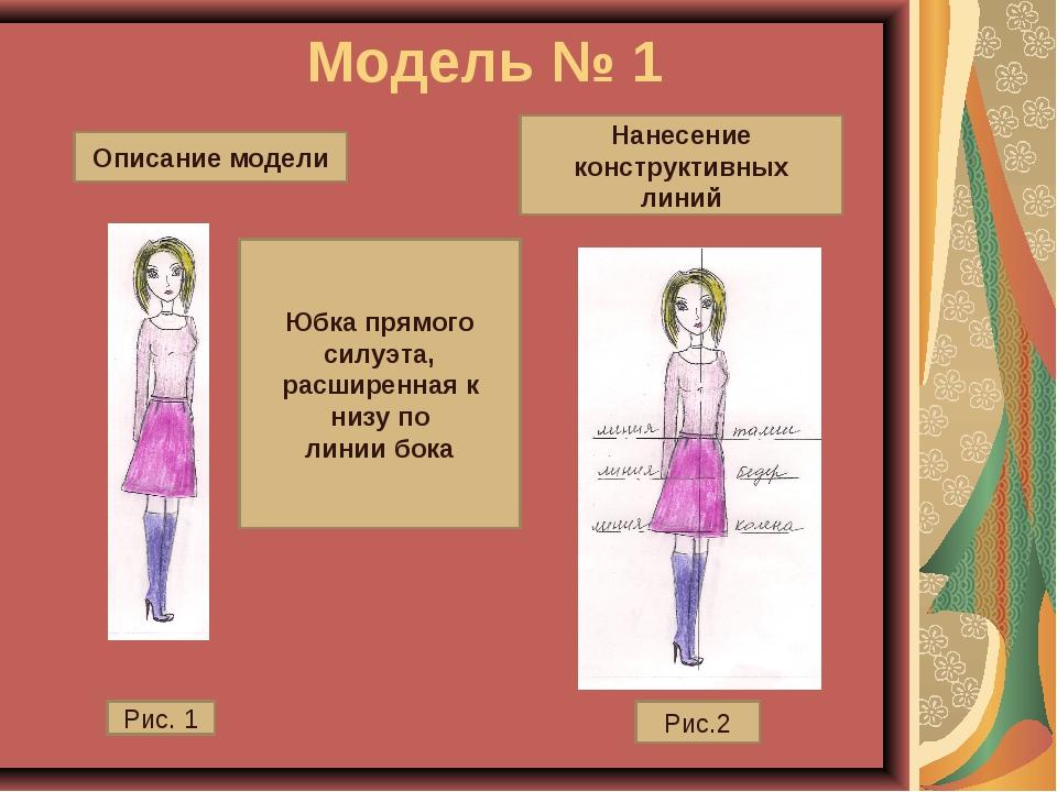 Модель № 1 Юбка прямого силуэта, расширенная к низу по линии бока Рис. 1 Рис...