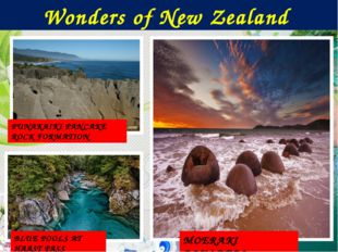 Wonders of New Zealand PUNAKAIKI PANCAKE ROCK FORMATION MOERAKI BOULDERS BLUE