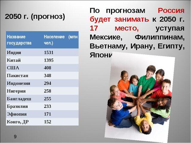 2050 г. (прогноз) По прогнозам Россия будет занимать к 2050 г. 17 место, уст...